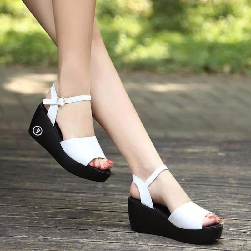 Giày sandal đế xuồng nữ đế đúc quai ngang cổ điển - Giày đế xuồng cao 6cm - Có 2 màu Đen và Trắng - Linus LN1827 ( Bảo hành trong 12 tháng ) giá rẻ