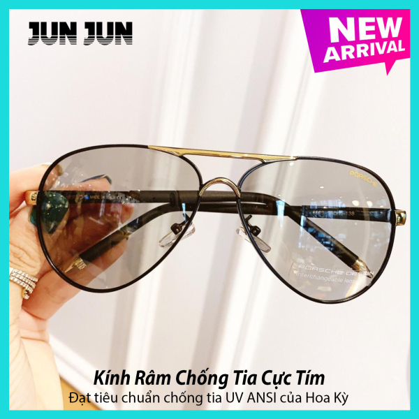 Giá bán Kính mát nam thời trang cao cấp đổi màu khi đi nắng tròng kính chống tia UV - Mắt kính nam tròng Polaroid  - Tặng kèm hộp da cao cấp + Khăn lau (JJ8503)
