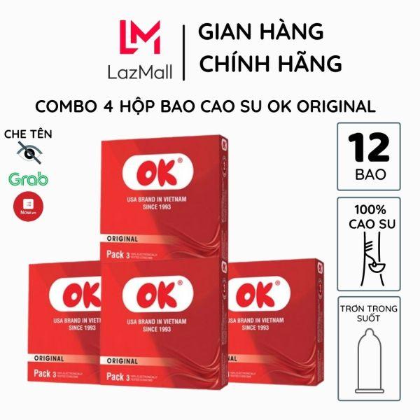 Bao cao su OK Original combo 4 hộp 12 bao bao trơn không mùi từ mủ cao su tự nhiên siêu mỏng chống tuột