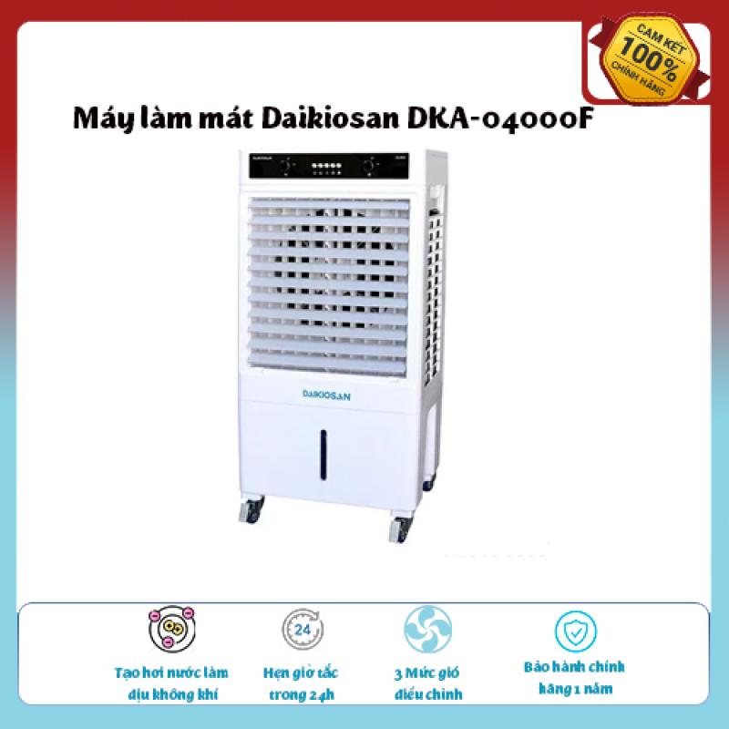 Máy làm mát Daikiosan DKA-04000F-Loại quạt: Quạt điều hòa ,diện tích làm mát 25 – 30 m2., Tạo hơi nước làm dịu không khí,Tốc độ gió: 3 mức, hàng chính hãng giá ưu đãi
