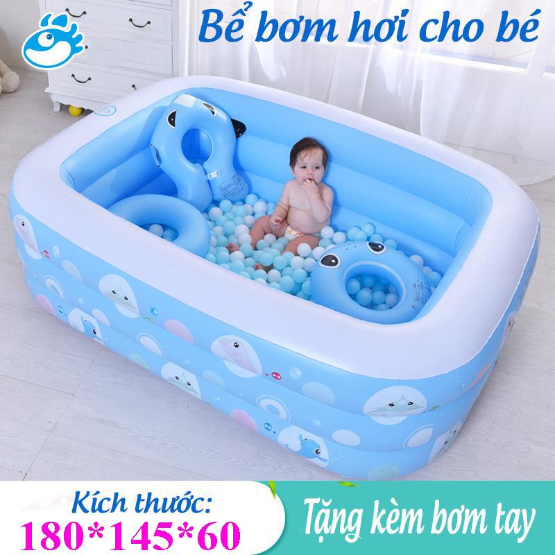 [XẢ KHO BỂ BƠI ] Bể bơi phao trẻ em Bể bơi mini cho bé trai Bể bơi phao 3 tầng cỡ lớn cho bé và đại gia đình dài 1m8 cm. loại dày dặn có tặng kèm( miếng vá )
