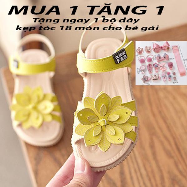 Giá bán Dép sandal bé gái SIZE LỚN 31- 36 đính hoa kép kiểu dáng dép xăng đan quai dán đế mềm êm chân cho bé gái từ 2-10 tuổi Dép quai hậu