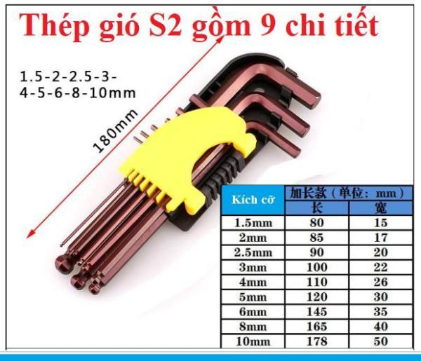 Bộ lục giác 9 chiếc 1.5mm-10mm hàng chuẩn tốt