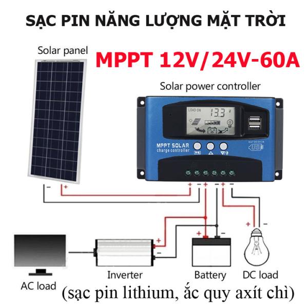 Sạc năng lượng mặt trời 12V/24V-60A MPPT - Bộ sạc pin năng lượng mặt trời MPPT 60A, sạc năng lượng mặt trời  12v