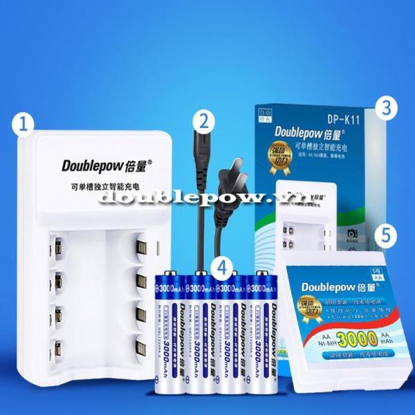 Giá [Combo pin sạc] Sạc pin Doublepow DP-K11 kèm 4 viên pin tiểu sạc Doublepow 3000mAh dung lượng cao hàng nhập khẩu chính hãng