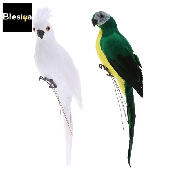 Blesiya 2x Vẹt Đuôi Dài Thực Tế Vẹt Lông Chim Nhân Tạo Đồ Chơi Trang Trí Động Vật
