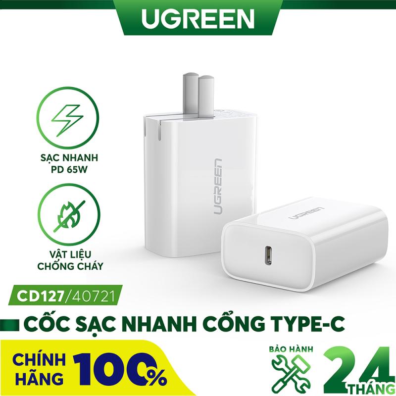 Cốc sạc nhanh cổng USB type C chân cắm kiểu USA UGREEN CD127 - Hãng phân phối chính thức