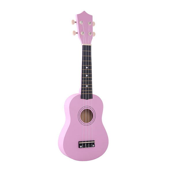 21 inch Soprano Ukulele 4 Strings Hawaiian Guitar Uke + String + Pick For Beginners kid Gift(Pink)