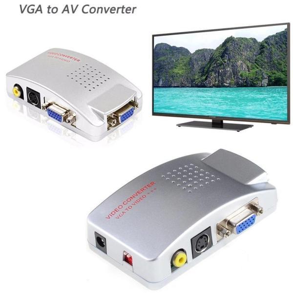 Bộ chuyển đổi VGA vi tính sang Tivi AV PC to TV Converter,Hộp chuyển đổi tín hiệu từ VGA sang SVIDEO - AV (Trắng), Thiết bị âm thanh, Thiết bị chuyển đổi ,Bộ chuyển đổi tín hiệu từ VGA sang - AV, Svideo (Trắng)