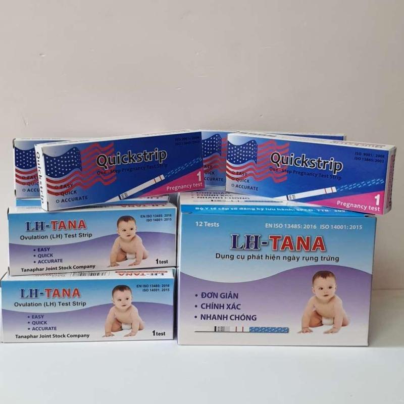 Bộ 12 thử rụng trứng LhTana + 4 Que thử thai Quickstrip