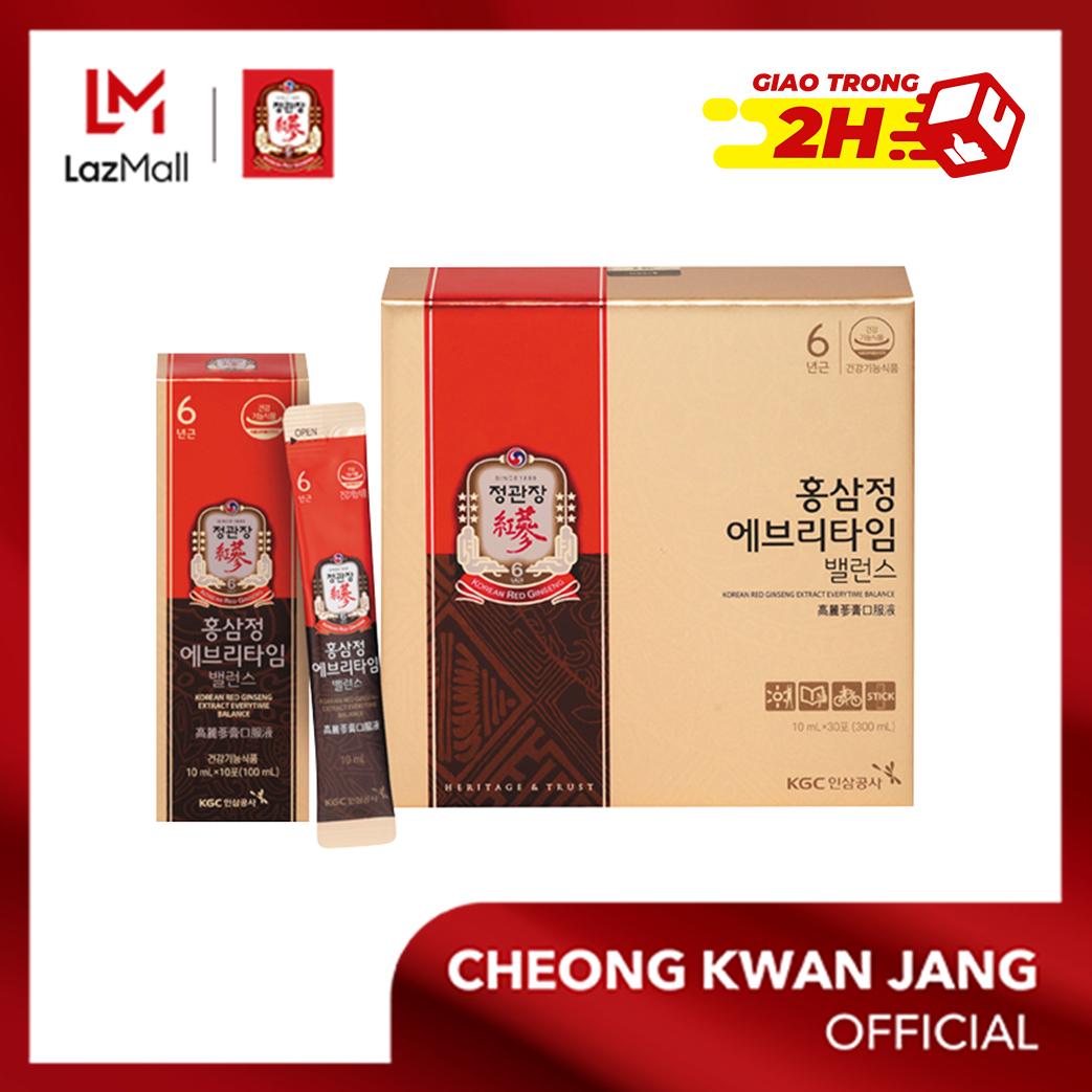 Nước hồng sâm Hàn Quốc Everytime Balance KGC Cheong Kwan Jang 10ml x 30 gói - Bổ sung năng lượng, cải thiện hệ miễn dịch, chống oxy hoá, tăng trí nhớ