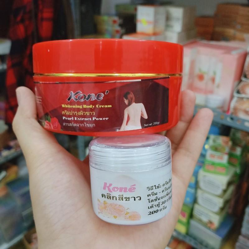 Combo Siêu kích trắng Kone và Kem body Kone dưỡng ẩm trắng da Thái lan