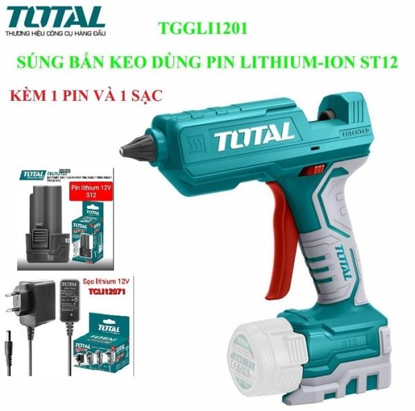 Dụng cụ bắn keo dùng pin Lithium-S12 TOTAL TGGLI1201-1PIN1SAC