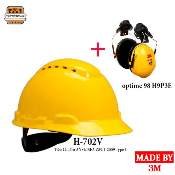 Mũ Bảo Hộ 3M H-702V Màu Vàng Có Lỗ Thông Khí, Giảm Chấn Dạng Nút Vặn 4 Điểm Nối Bao Gồm Tai Chụp
