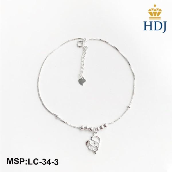 Lắc chân bạc nữ Hình Cỏ bốn lá và tim sang trọng trang sức cao cấp HDJ mã LC-34-3
