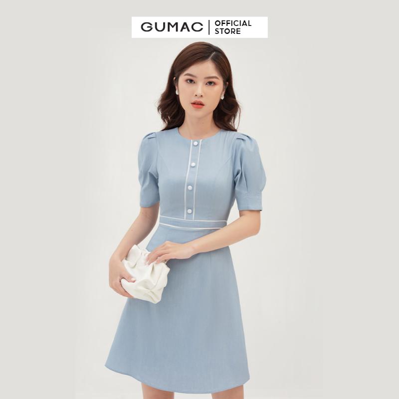 Nơi bán Váy đầm nữ đẹp cách điệu cổ tròn phối viền nẹp eo tôn dáng tay phồng trre trung thời trang GUMAC mẫu mới DB394 chất liệu Cotton Thái Mịn cao cấp mềm mát thoải mái+ hỗ trợ đổi hàng 7 ngày