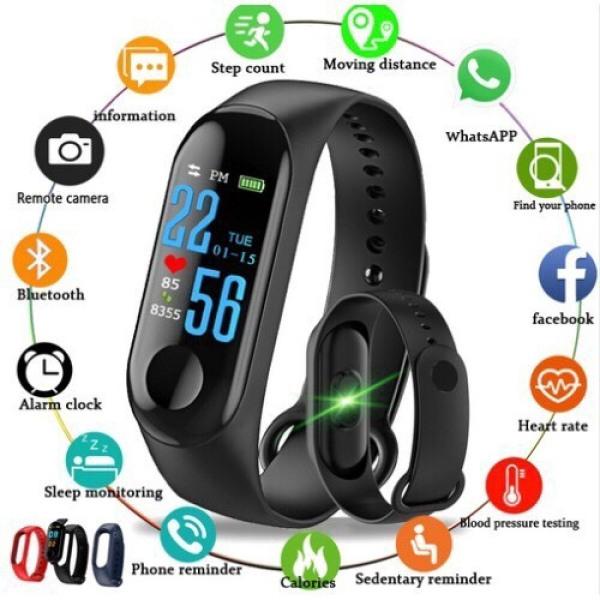 Giá Vòng đeo tay thông minh M3 Intelligence Health Bracelet - hỗ trợ chăm sóc và theo dõi sức khoẻ. Kết nối Bluetooth, kết nối điện thoại. Có chống nước, có bảo hành