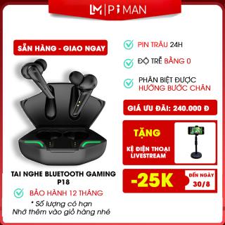 Tai nghe bluetooth gaming Piman giải trí không dây có mic pin siêu trâu- Tai phone bluetooth nhét tai tương thích mọi loại máy và các hệ điều hành P18 thumbnail