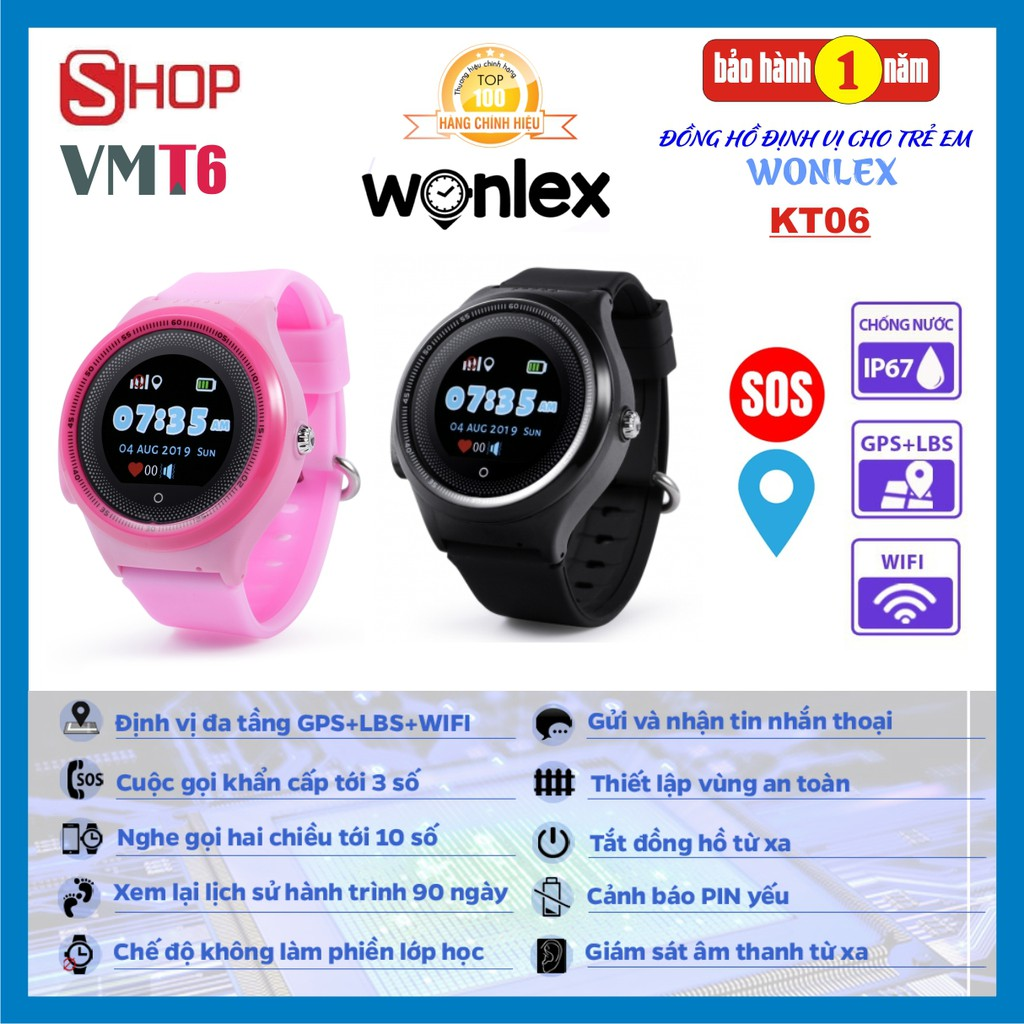 Đồng hồ định vị trẻ em WONLEX KT06 chính hãng - Wifi - Chống nước IP67
