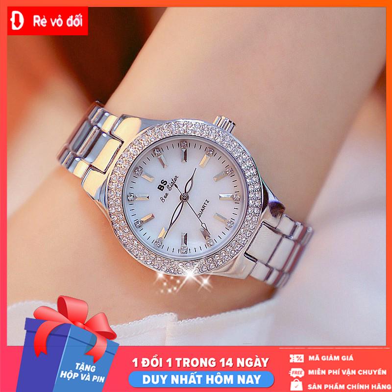 Tặng kèm hộp và Pin -  Đồng hồ nữ sang trọng thời trang BS BEE SISTER Đính đá siêu đẹp - Chống Nước Tốt - Sams Shop