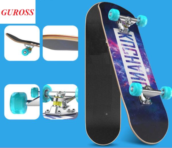 Mua Ván Trượt Người Lớn Skateboard 80cm, Mặt Nhám Bánh PU Phát Sáng + Trục Hợp Kim Nhôm – Chính Hãng Guross