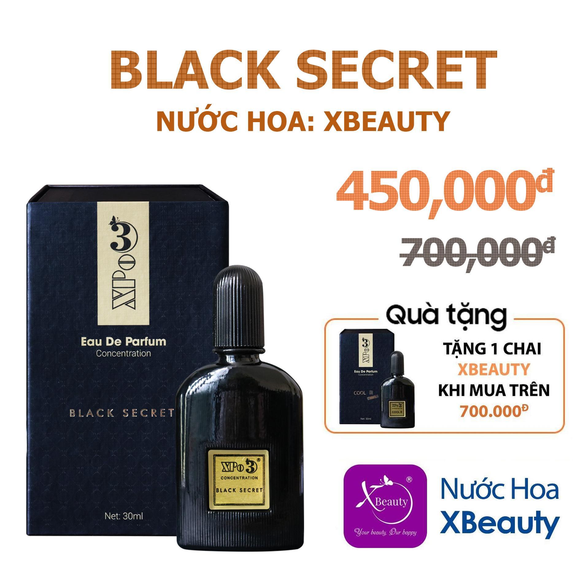 Nước hoa Nam XBeauty XPo3 Black Secret 30ml (GTIN: 8938511722109). Nước hoa cô đặc thơm lâu dành cho Nam nhập khẩu