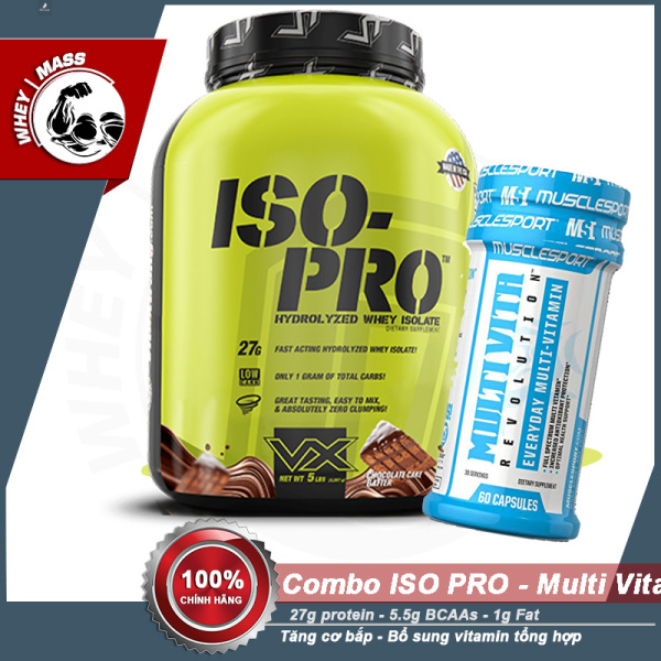 [COMBO] Tăng Cơ Bắp Bổ Sung Vitamin Tổng Hợp Protein ISO PRO (5lbs) - MULTI VITA REVOLUTION (60 Viên) - Từ Châu Âu giá rẻ