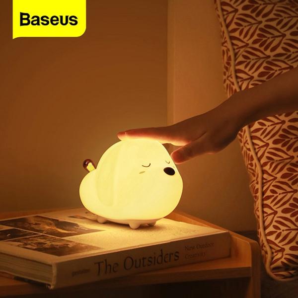 Baseus Dễ thương động vật LED xách tay Night Light mềm Silicone cảm ứng Sensor cho trẻ em Kids Bedroom sạc đèn ánh sáng ban đêm