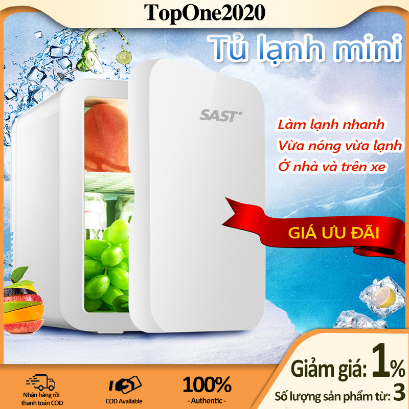 [HCM]Tủ lạnh mini 8L dùng trên xe oto hoặc gia đình vừa làm lạnh vừa làm ấm được TopOne2020