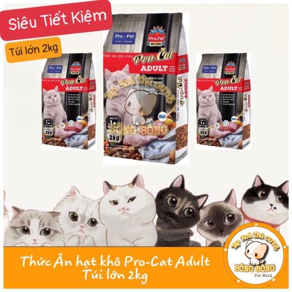 Thức ăn cho mèo lớn - thức ăn cho mèo - hạt khô cho mèo Pro cat 2kg - Pro cat gói lớn - bông bông