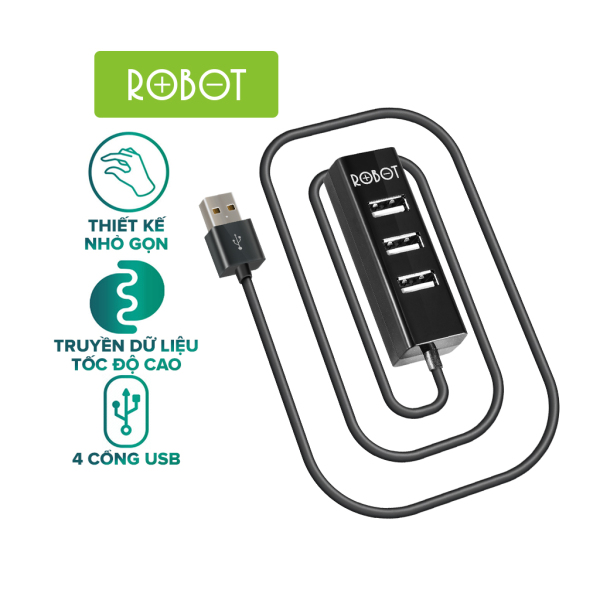 Bảng giá [Bảo Hành 12 tháng] Cổng chia USB HUB 4 cổng ROBOT H140 80 dài 80cm , đa năng truyền dữ liệu tốc độ cao ổn định - HÀNG CHÍNH HÃNG Phong Vũ