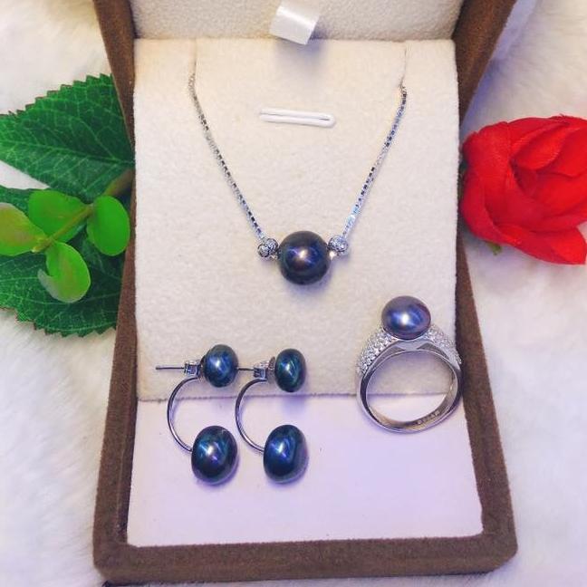 Combo trang sức Ngọc trai xanh đen Quý phái