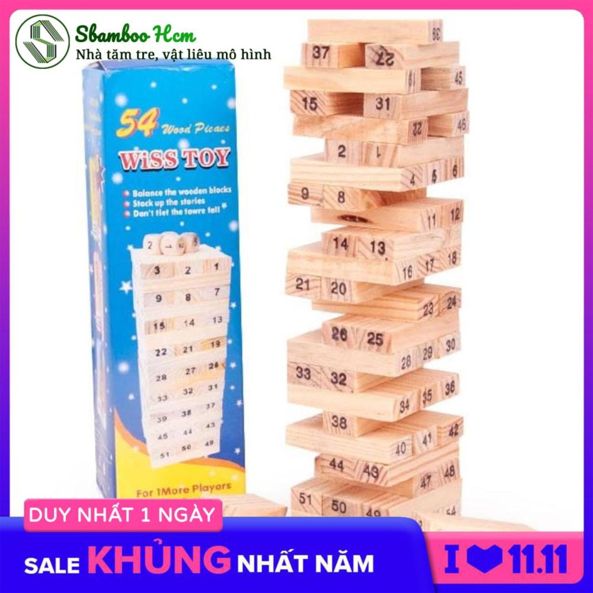 Bộ đồ chơi rút gỗ, trò chơi trí tuệ dành cho bé - Bộ đồ chơi rút gỗ Wiss Toy 54 thanh kèm 4 con súc sắc- Đồ chơi rút gỗ 54 thanh kiểu Nhật thông minh cho trẻ sáng tạo