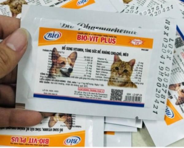 [Hàng Chính Hãng] BIO VIT PLUS 5g giúp chó mèo ăn nhiều, mượt lông, chống rụng lông Vitamin tăng đề kháng chó mèo