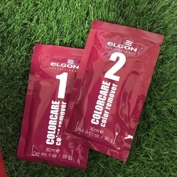 Bộ sản phẩm rửa màu tóc bóc đen bóc đỏ Elgon color remover nhập khẩu