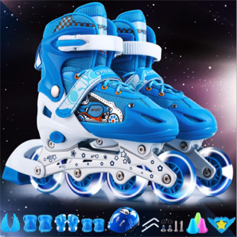 Phân phối Giầy trượt patin trẻ em có đèn flash tặng bảo vệ tay chân màu xanh