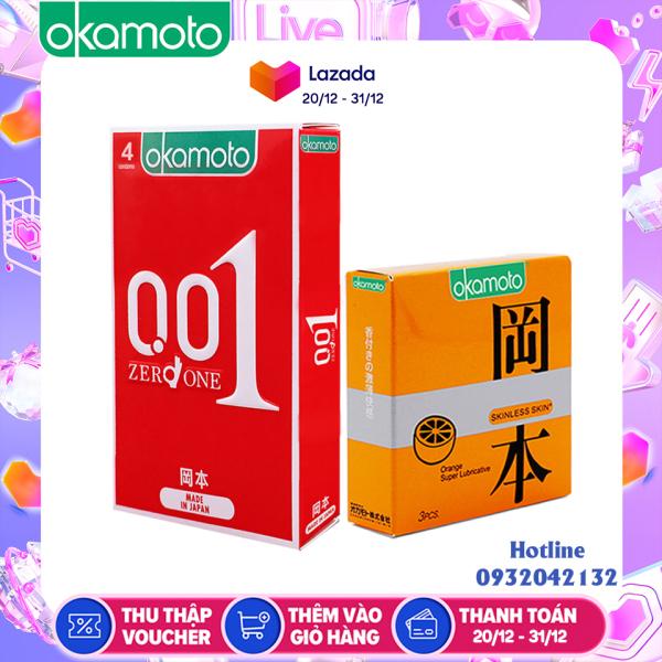 Bao Cao su Okamoto 0.01 PU Siêu mỏng Truyền Nhiệt Nhanh Hộp 4 Cái nhập khẩu