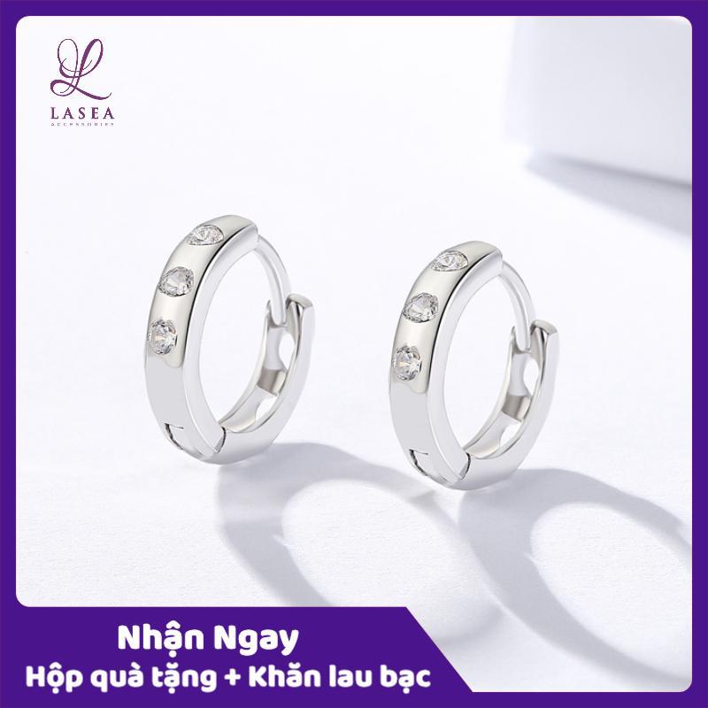 Bông tai nữ trang sức bạc Ý S925 Lasea - Hoa tai Hàn Quốc gắn ba viên đá cao cấp ( Xanh Ngọc ) E053