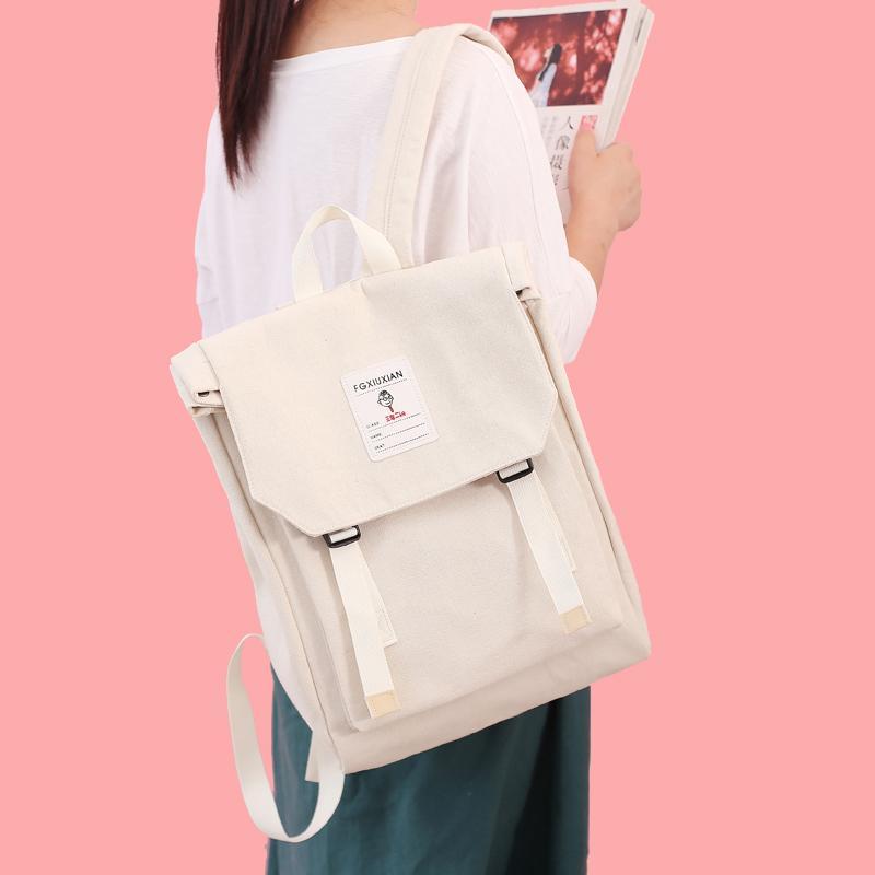 Japanese-style Canvas Backpack Schoolgirl INS Wind Versatile School Bag Female Korean Style High School Students Backpack Harajuku Ulzzang