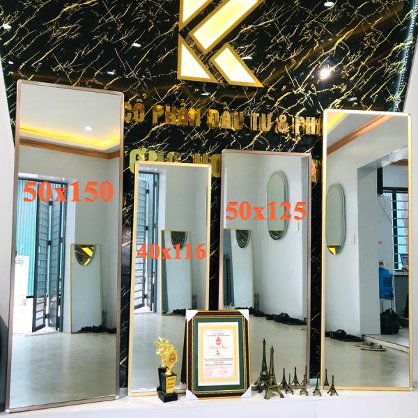 Gương soi toàn thân treo tường, viền kim loại cao cấp, kích thước 40x116 cm - guonghoangkim Mirror giá rẻ