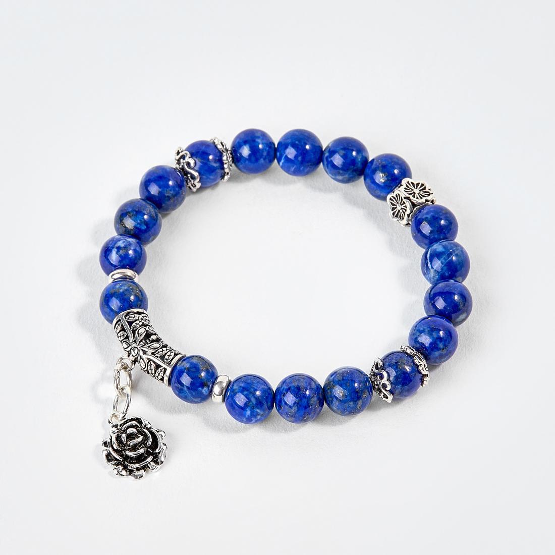 Vòng Tay Đá Lapis Lazuli Phối Charm Hoa Hồng Bạc