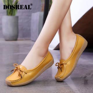 Giày Da Đế Bệt DOSREAL Cho Nữ Cỡ Lớn 35-41 Giày Lười Đế Bệt Màu Trắng Hàn Quốc Giày Ba Lê Nữ Giày Y Tá Thời Trang Giày Nữ