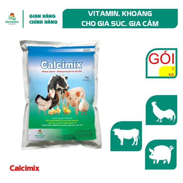 Vemedim Calcimix Cung cấp calci, vitamin và khoáng cho gia súc, gia cầm, gói 1kg