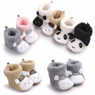 bốt Trẻ Em Phong Cách Động Vật Gấu Trúc Dễ Thương Mùa Đông Giày Độn Bông Lông Cừu Bốt Trẻ Em Giày Trẻ Sơ Sinh 0-12M