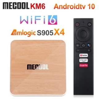 Android Box Mecool KM6 DELUXE Amlogic S905X4 DDR4 4GB Rom 64GB Android TV 10 chính chủ Google remote voice giọng nói theo box Bluetooth 5.0