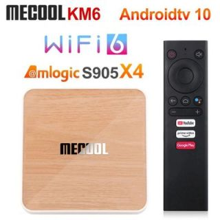 [HCM]Android Box Mecool KM6 DELUXE Amlogic S905X4 DDR4 4GB Rom 64GB Android TV 10 chính chủ Google remote voice giọng nói theo box Bluetooth 5.0 thumbnail