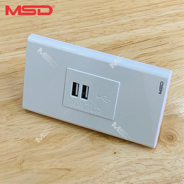 SẠC ĐIỆN THOẠI 2 USB ÂM TƯỜNG 2.4A/5VDC - SERIAL MSD-IC giá rẻ