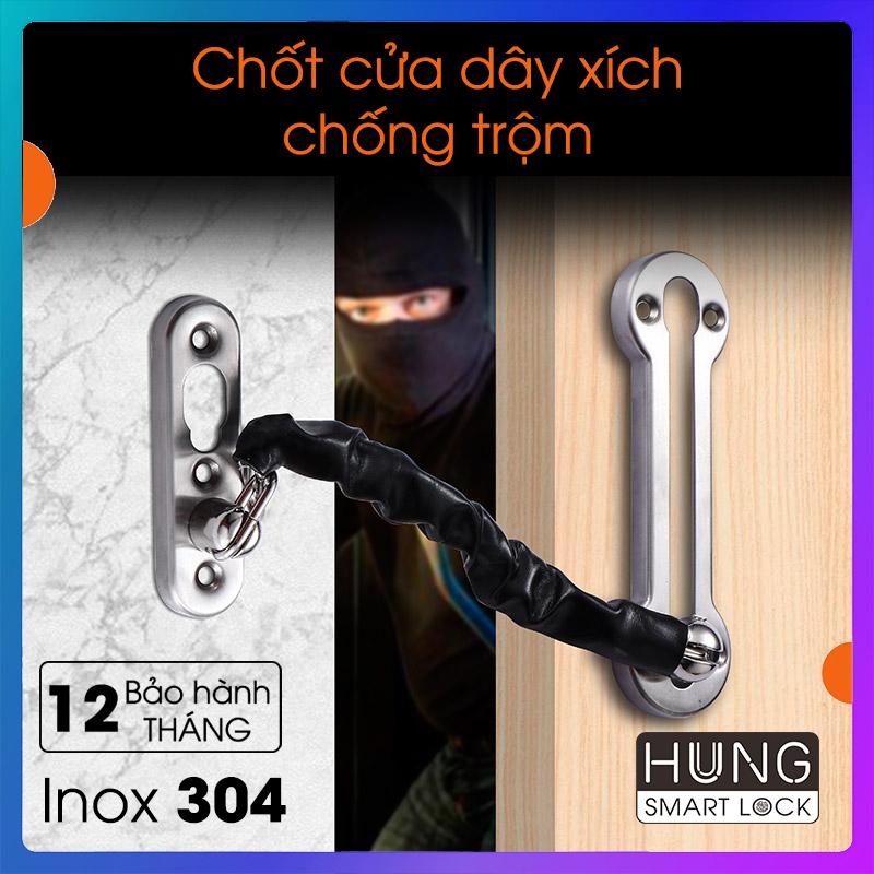 Chốt cửa an toàn cao cấp, có dây xích chống trộm, hợp cho chung cư nhà phố, bảo hành 12 tháng