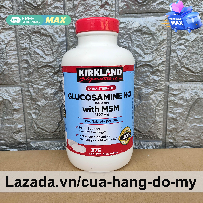 Viên Uống Glucosamine 1500mg MSM 1500mg Bổ Xương Khớp Glucosamin Kirkland Mỹ 375 Viên - Mẫu viên trắng - Hỗ trợ giảm đau , chống thoái hóa xương khớp