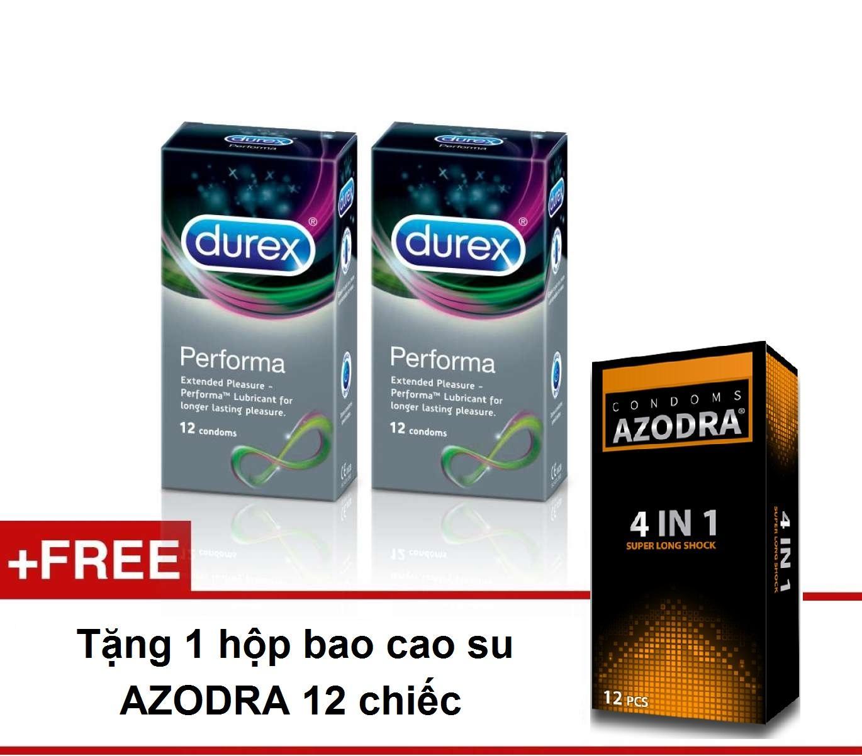 Combo 2 hộp Bao cao su siêu kéo dài thời gian Durex Performa 24 chiếc tặng 1 hộp bcs AZODRA 12 chiếc chính hãng